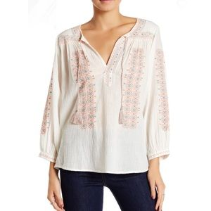 Joie Sunflower Embroidered Peasant Blouse Small